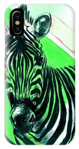 Zebra In Green IPhone Case