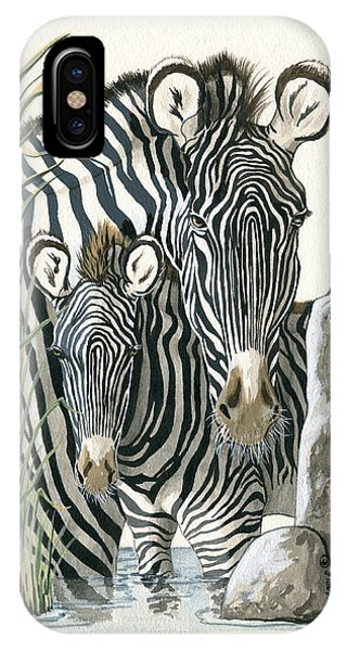 Zebra Mother And Colt Protect Our Children Painting IPhone Case