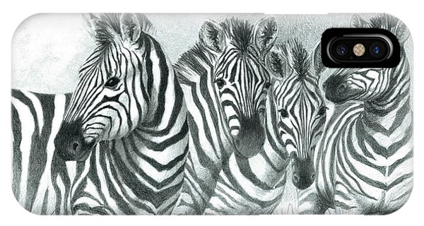 IPhone Case featuring the drawing Zebra Quartet by Phyllis Howard