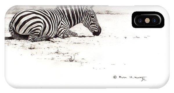 IPhone Case featuring the painting Zebra Sketch by Alan M Hunt