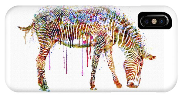 Zebra iPhone Case - Zebra Watercolor Painting by Marian Voicu