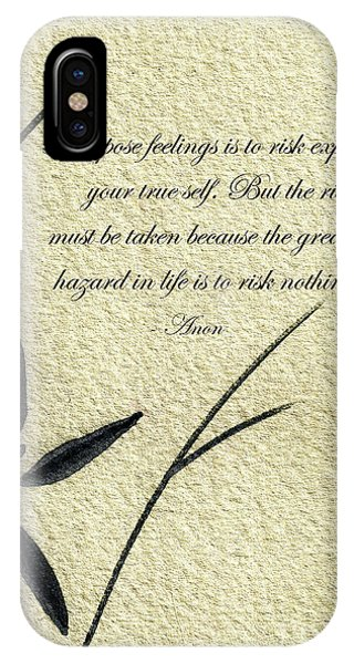 Zen Sumi 4m Antique Motivational Flower Ink On Watercolor Paper By Ricardos IPhone Case