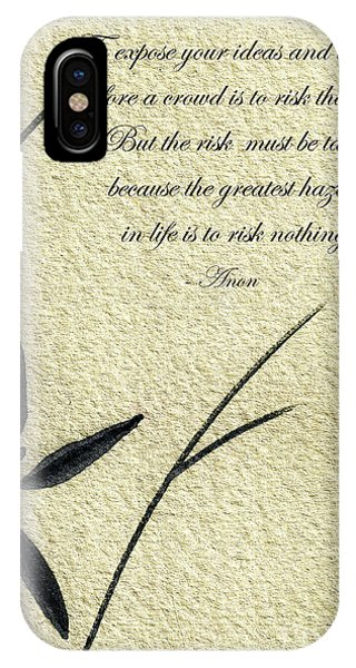 Zen Sumi 4n Antique Motivational Flower Ink On Watercolor Paper By Ricardos IPhone Case