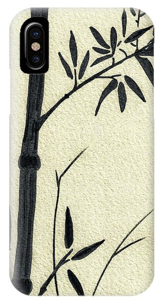 Zen Sumi Antique Bamboo 1a Black Ink On Fine Art Watercolor Paper By Ricardos IPhone Case