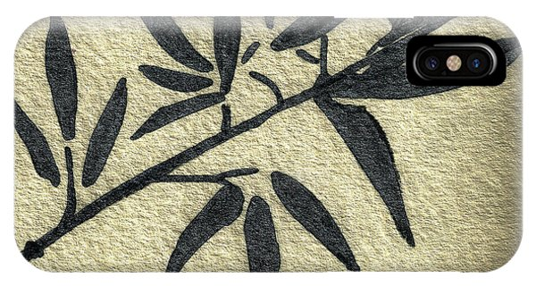 Zen Sumi Antique Botanical 4a Ink On Fine Art Watercolor Paper By Ricardos IPhone Case