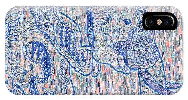 Zentangle Elephant-oil IPhone Case
