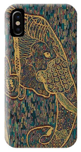 Zentangle Elephant-oil Gold IPhone Case