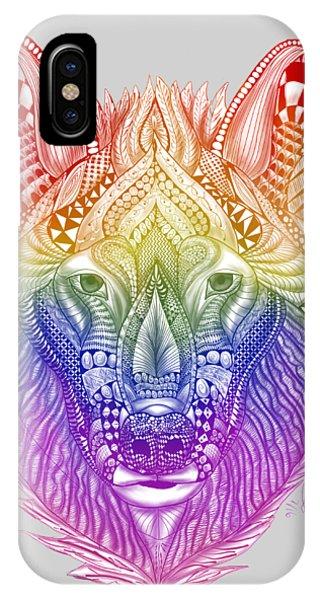 Zentangle Inspired Art- Rainbow Wolf IPhone Case