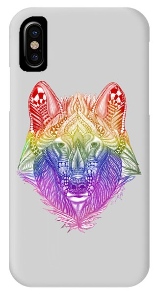 Zentangle Inspired Art- Rainbow Wolf IPhone Case