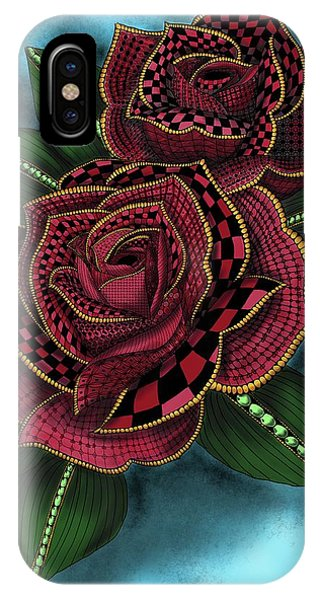 IPhone Case featuring the painting Zentangle Tattoo Rose Colored by Becky Herrera