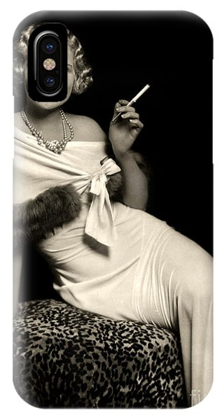 Ziegfeld Model Reclining In Evening Dress  Holding Cigarette By Alfred Cheney Johnston IPhone Case