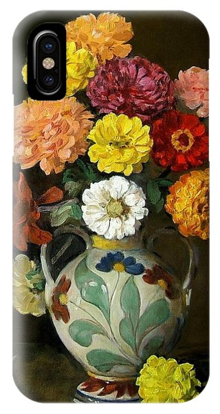 Zinnias In Decorative Italian Vase IPhone Case