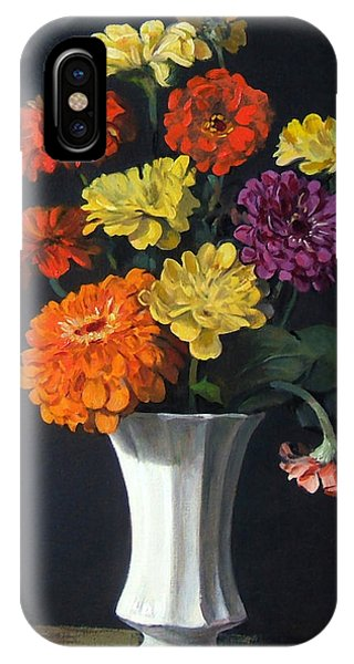 Zinnias Showing Their True Colors In White Vase IPhone Case
