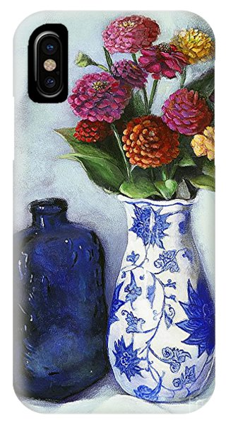 Zinnias With Blue Bottle IPhone Case