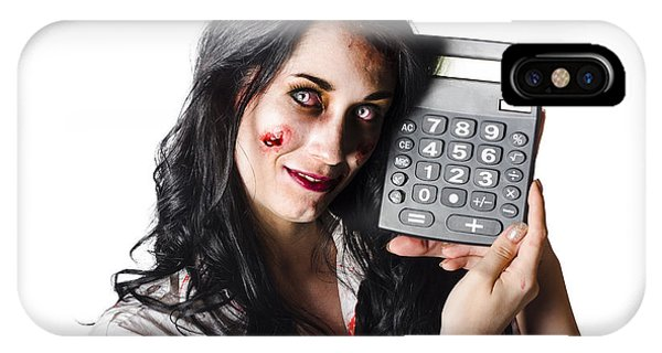 Zombie Finance Worker With Calculator IPhone Case