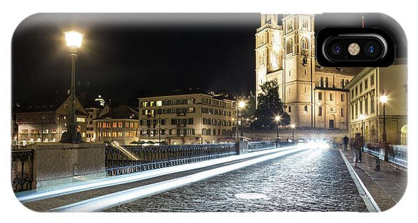 Zurich Night Rush In Old Town IPhone Case