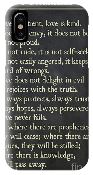 1 Corinthians 13 4-8- Inspirational Quotes Wall Art Collection IPhone Case