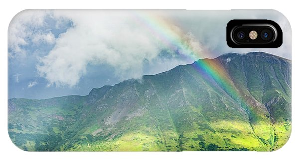 A Rainbow Shines Through Atmospheric Phone Case by Kevin G. Smith