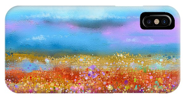 Red Sky iPhone X Case - Abstract Colorful Oil Painting by Pluie r
