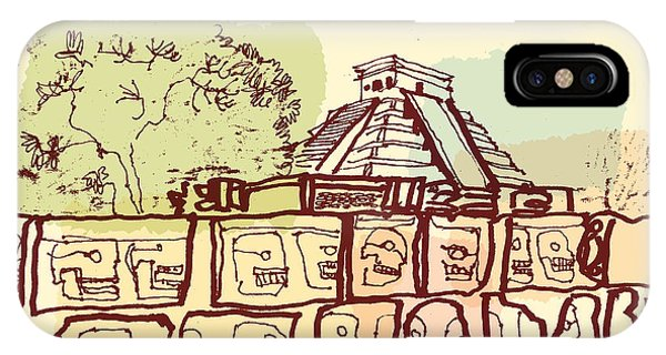 Culture iPhone Case - Ancient Mayan Temples In Chichen Itza by Babayuka