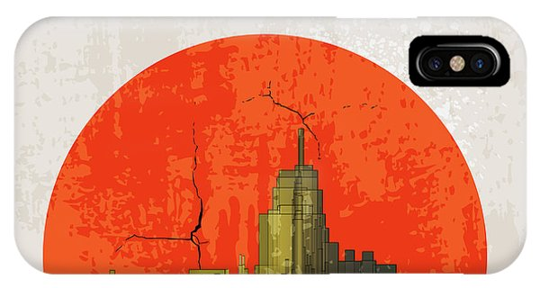 Shadow iPhone Case - Apocalyptic Retro Poster. Sunset by File404