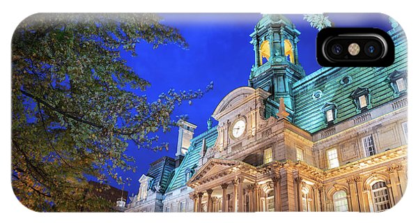 Quebec City iPhone Case - Autumn Colored Trees, Hotel De Ville by Stuart Westmorland