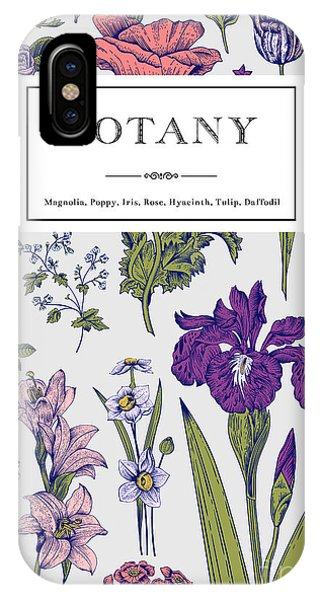 Violet iPhone Case - Botany. Vintage Floral Card. Vector by Olga Korneeva