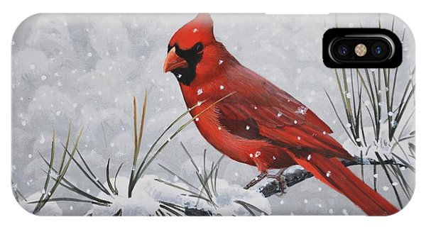 IPhone Case featuring the painting Cardinal In The Snow by Peter Mathios