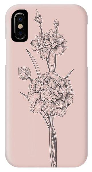 Bouquet iPhone X Case - Carnation Blush Pink Flower by Naxart Studio