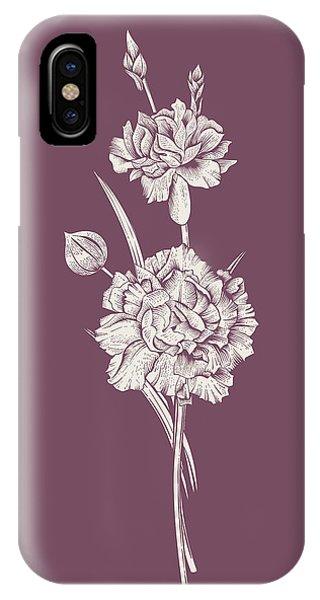 Bouquet iPhone X Case - Carnation Purple Flower by Naxart Studio