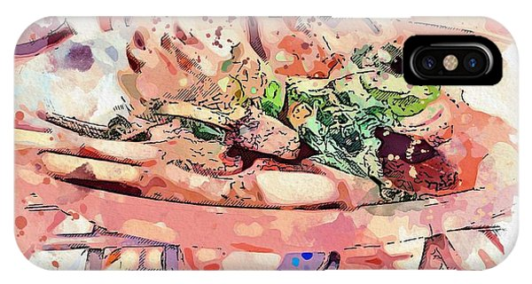 Protein iPhone Case - Chop Steak -  Watercolor By Ahmet Asar by Celestial Images
