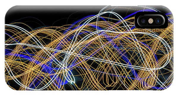 Colorful Light Painting With Circular Shapes And Abstract Black Background. IPhone Case