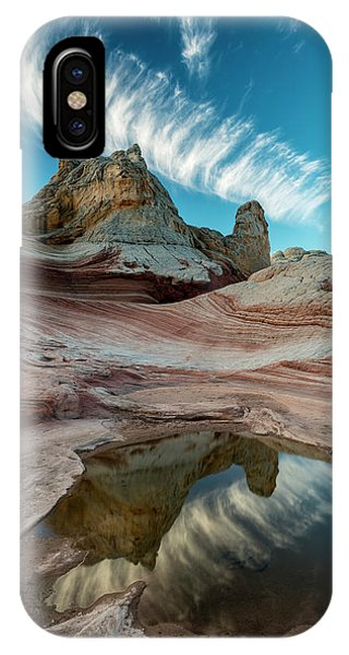 Contrail, Pool Reflection And Sandstone Phone Case by Howie Garber