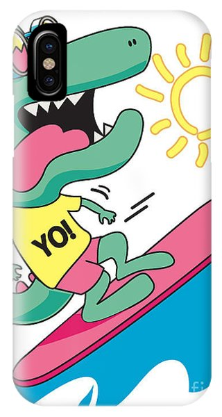 Surfboard iPhone Case - Cool, Cute Monster Crocodiles by Braingraph