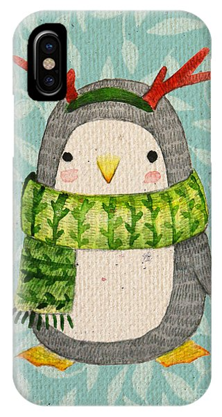 Winter Fun iPhone Case - Cute Penguin In Scarf. Watercolor by Maria Sem