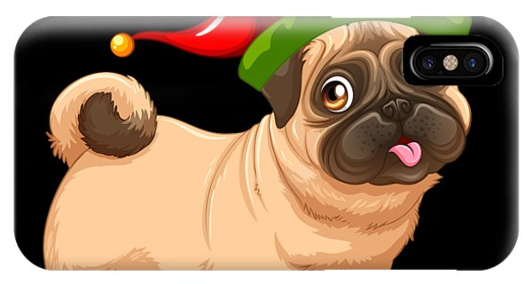 a2476a38718e6 Pug Life iPhone Case - Cute Pug In A Christmas Elf Hat by Louise Lench