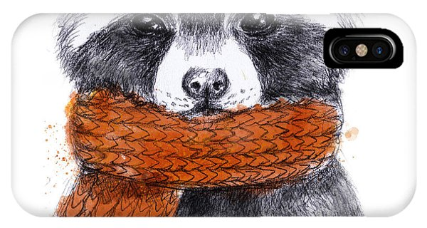 Ink iPhone Case - Cute Raccoon With Scarf , Sketchy by Maria Sem