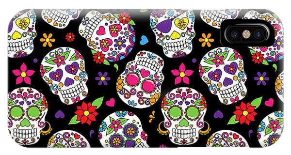 Cemetery iPhone Case - Day Of The Dead Sugar Skull Seamless by Pinkpueblo