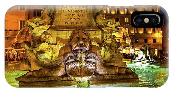 Della Porta Fountain, Piazza Della Phone Case by William Perry
