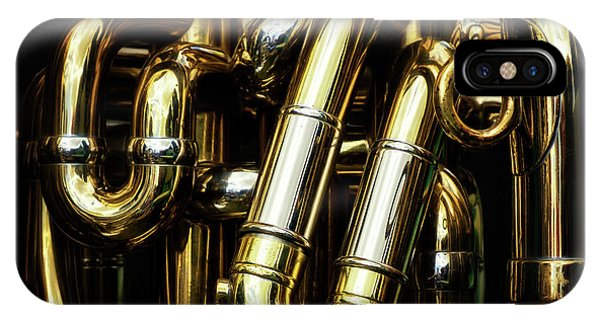 iPhone Case - Detail Of The Brass Pipes Of A Tuba by Jane Rix