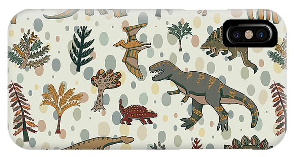 Past iPhone Case - Dinosaur Pattern by Goosefrol