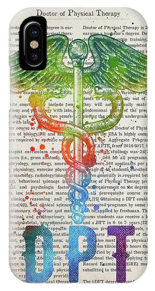 Physical iPhone Case - Doctor Of Physical Therapy Gift Idea With Caduceus Illustration  by Aged Pixel