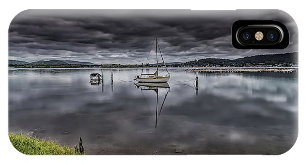 Early Morning Clouds And Reflections On The Bay IPhone Case