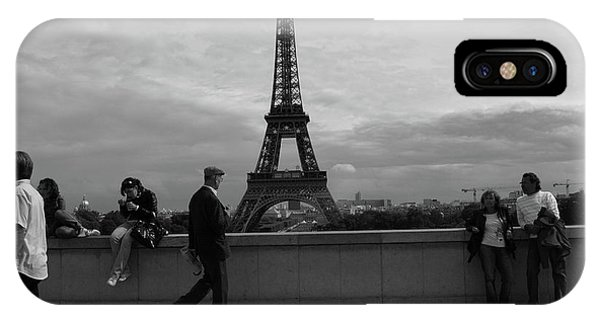 IPhone Case featuring the photograph Eiffel Tower, Tourist by Edward Lee
