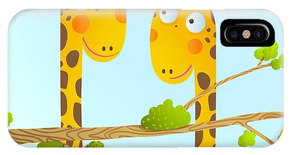 Baby Blue iPhone Case - Fun Cartoon Baby Giraffe Animals In by Popmarleo