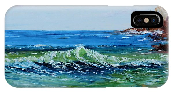 IPhone Case featuring the painting Green Wave by Kevin Brown