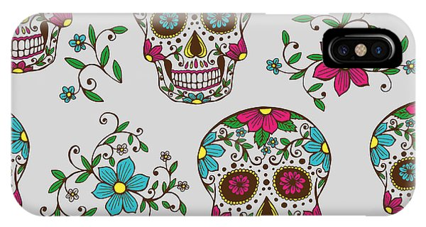 Death iPhone Case - Hand Drawn Day Of The Dead Colorful by A bachelorette