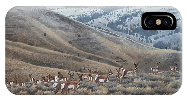 IPhone Case featuring the painting High Country Pronghorn by Peter Mathios