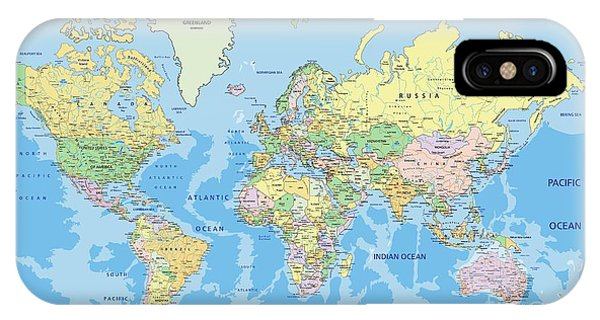 Planet iPhone Case - Highly Detailed Political World Map by Bardocz Peter