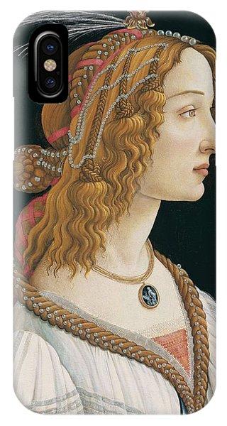 Botticelli iPhone Case - Portrait Of A Young Woman, Portrait Of Simonetta Vespucci As Nymph by Sandro Botticelli